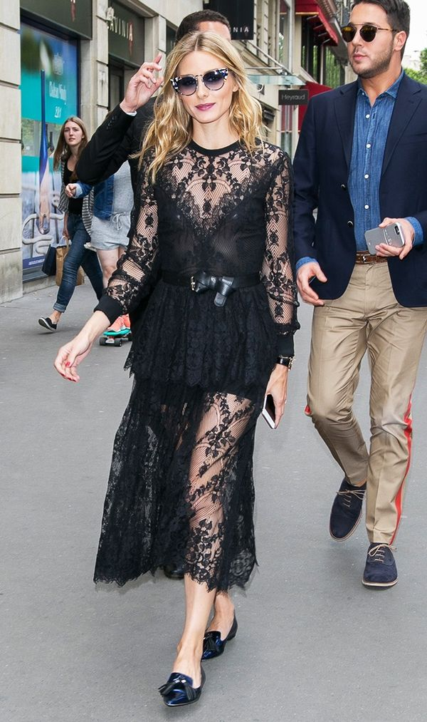 This is how you do daytime lace: Just add sunglasses, a leather belt, and flats. On Olivia Palermo: Fendi sunglasses; Elie Saab dress; Jimmy Choo Gabby Suede Slippers ($675).