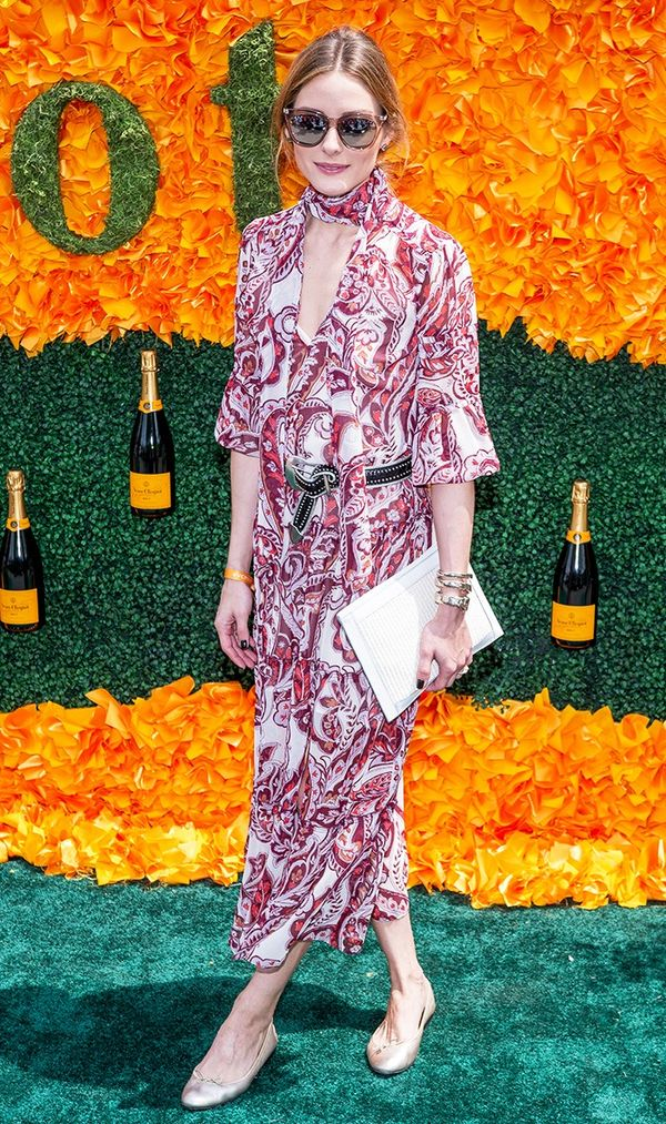 For a fancy day in flats, Palermo opted for a paisley midi dress that was the perfect combo of boho and polished. On Olivia Palermo: Chelsea28 + Olivia Palermo dress; Paige Keegan Studded Leather...