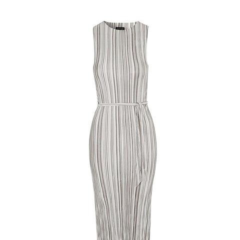 Striped Pleat Tank Dress