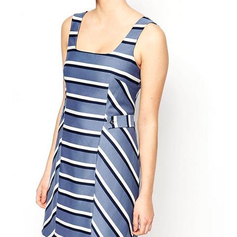 Stripe Pinafore Dress