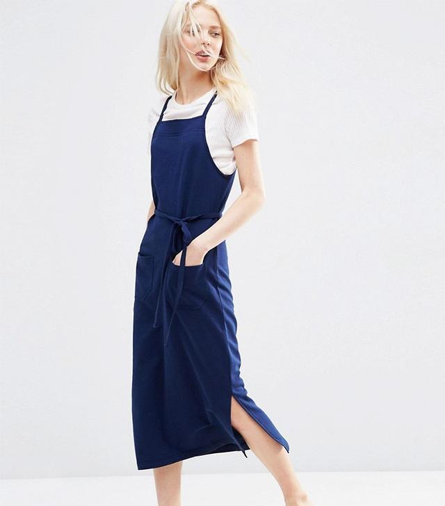 ASOS Pinafore Midi Dress in Indigo