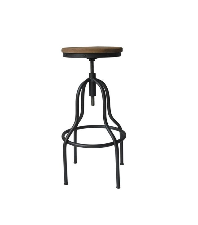 Aurelle Home Percy Wood and Iron Industrial-Style Adjustable Stool
