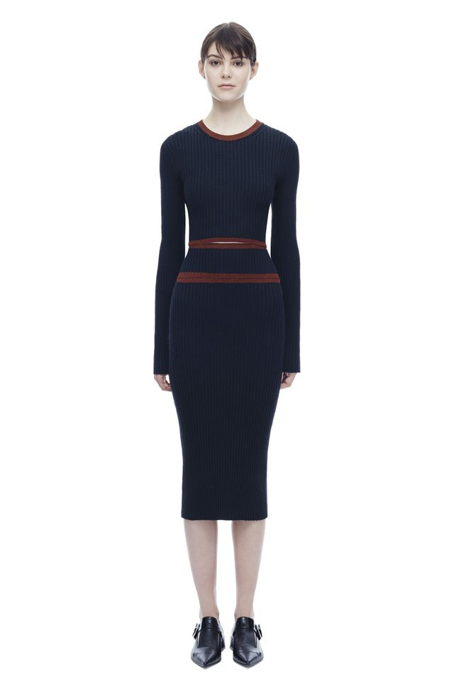 Victoria Beckham Deconstructed Rib Dress With Shine Trims