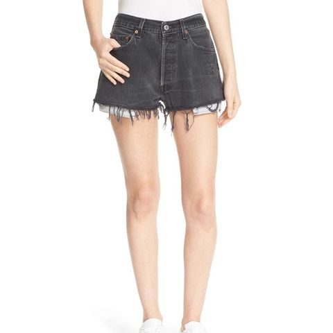 The Black High Rise Reconstructed Denim Shorts