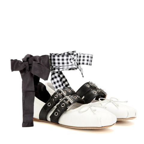 Buckle-Embellished Leather Ballerinas