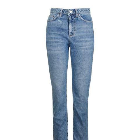 Moto  Raw Hem Straight Leg Jeans