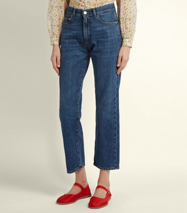 High-rise boyfriend cropped jeans