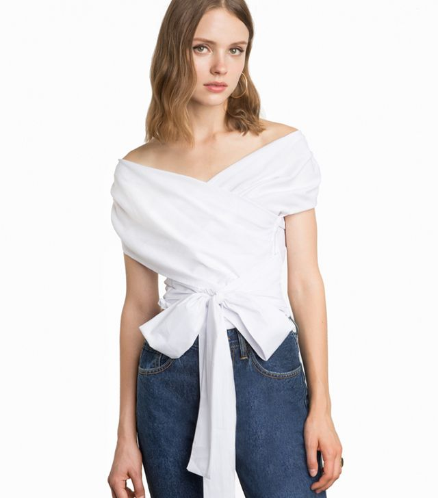 Pixie Market White Wrap Off-the-Shoulder Shirt