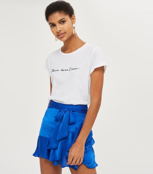 PETITE Ruffle Tie Mini Skirt