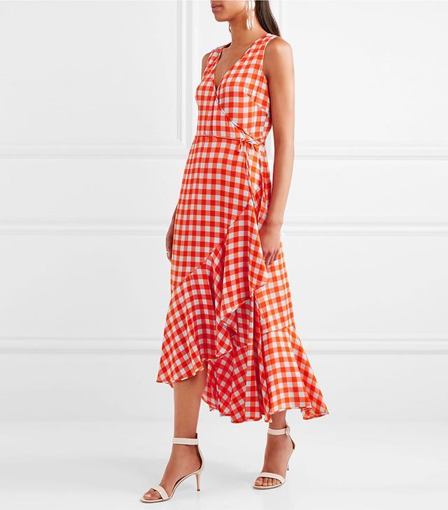 Ruffled Gingham Stretch-silk Wrap-effect Midi Dress