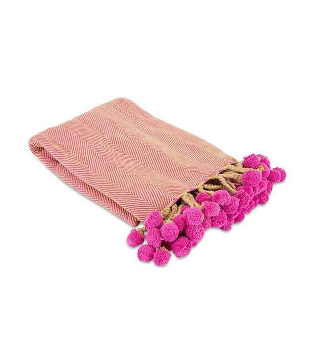 Furbish Studio Herringbone Pom Pom Throw in Pink