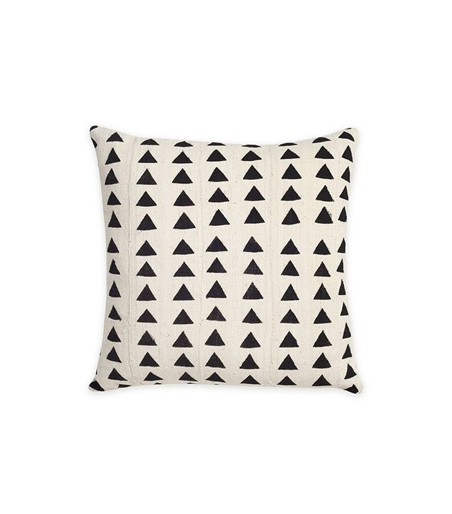 Consort White With Black Triangle Mudcloth Pillow