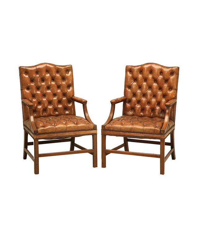Old Plank Pair of English Button Tufted Leather Vintage Chesterfield Armchairs