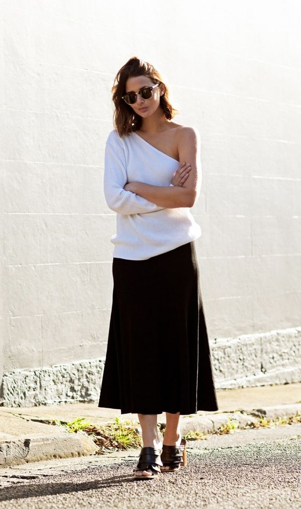 Style Tip:Opt for dramatic proportions with a one-shoulder top and full midi skirt.
