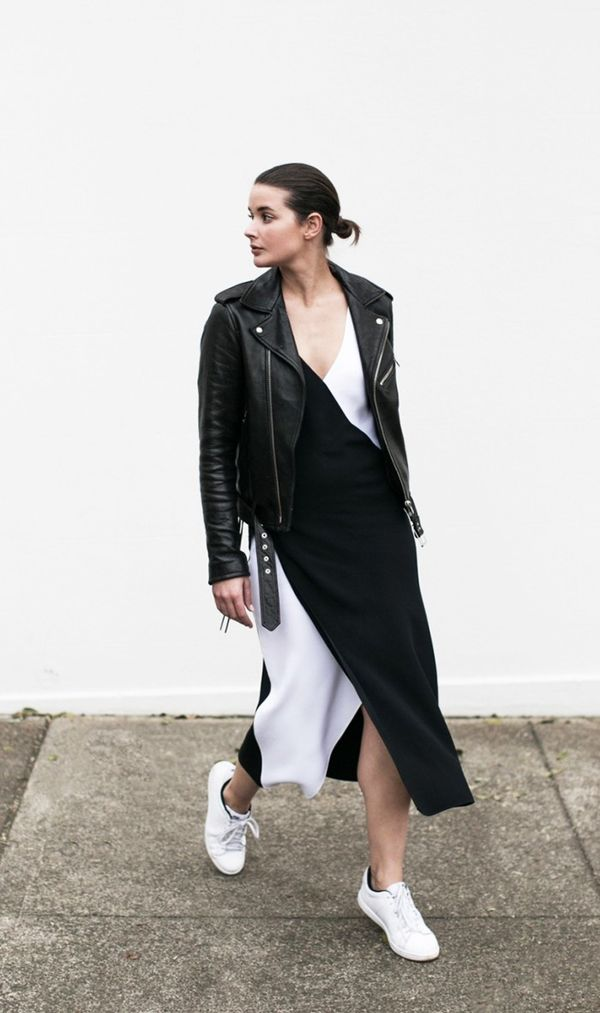 Style Tip:Addedge to a color-block dress by teaming it with your favorite leather jacket.