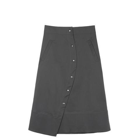 Bent A-Line Twill Skirt