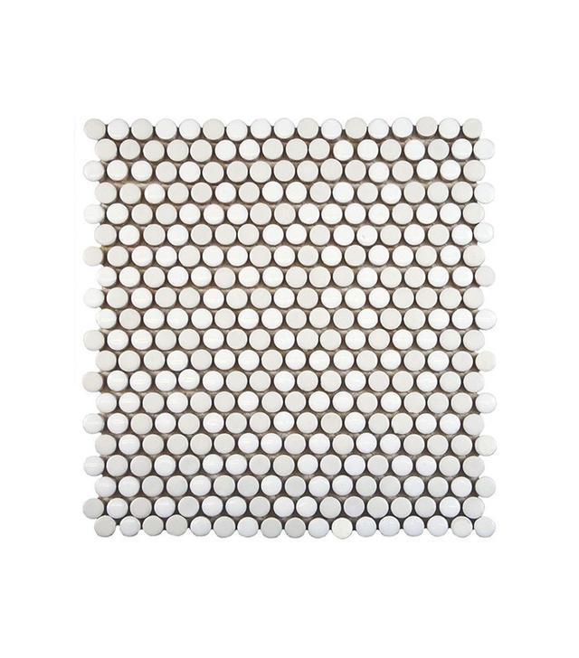 Mercola Tile Comet Penny Round White Porcelain Mosaic Tile