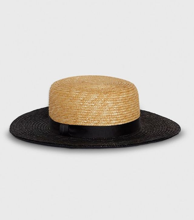 Who What Wear Women's Straw Boater Hat Natural With Black