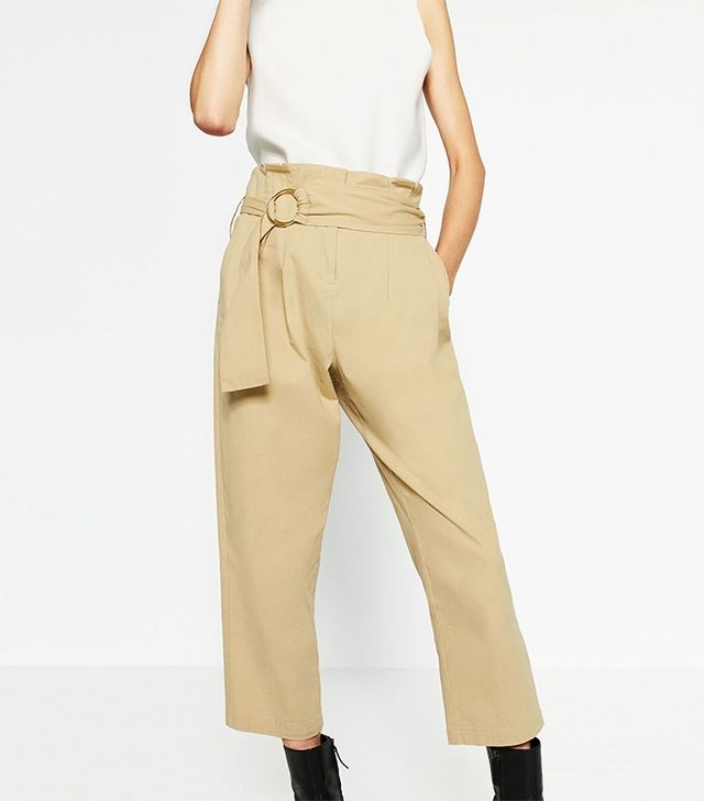 Zara Cotton Trousers With Buckle
