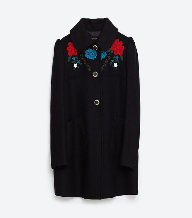 Zara Coat With Embroidered Yoke
