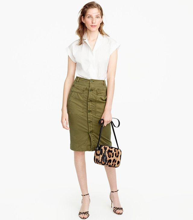 J.Crew Button-Front Garment-Dyed Skirt