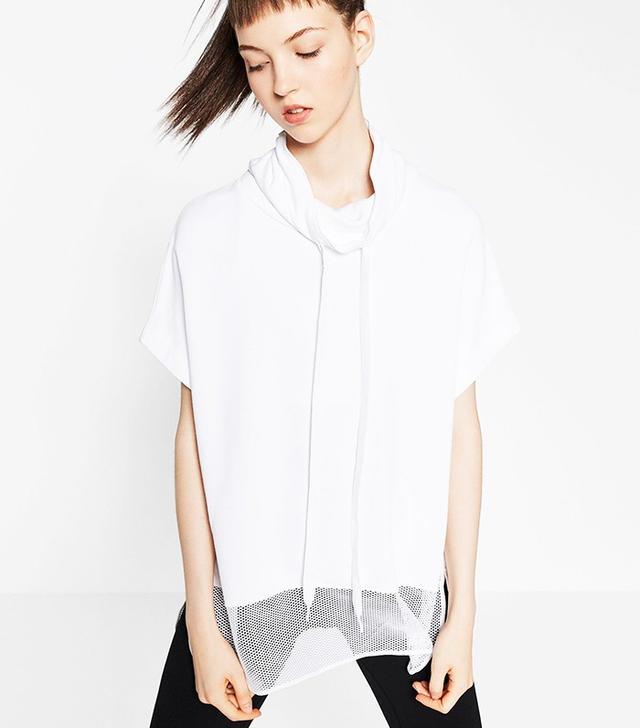 Zara Contrasting Fishnet Sweatshirt