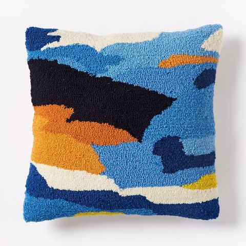 Looped Ink Blot Cushion Cover - Royal Blue