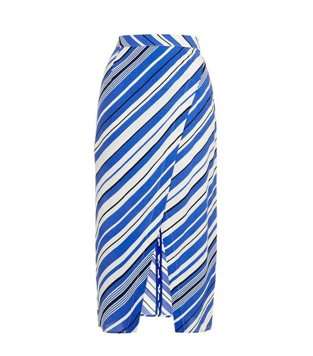 Topshop Stripe Wrap Midi Skirt