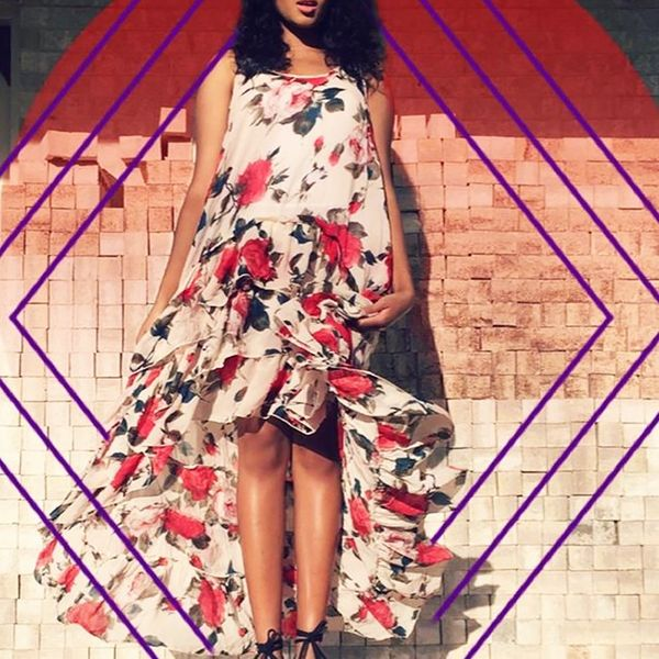 Style Tip: Add a touch of drama with a floor-length floral dress.