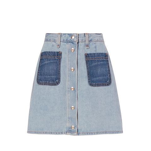 Varick Patch Denim Skirt