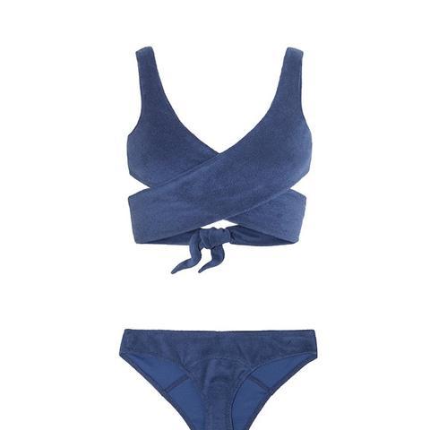 Marie-Louise Cotton-Blend Terry Wrap Bikini