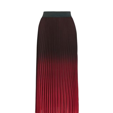 Jonael Pleated Ombré Crepe Midi Skirt