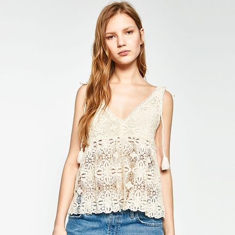 Strappy Crochet Top With Pompoms
