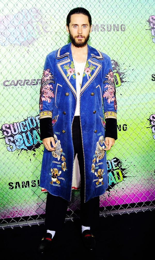 On Jared Leto: Gucci coat and shoes.