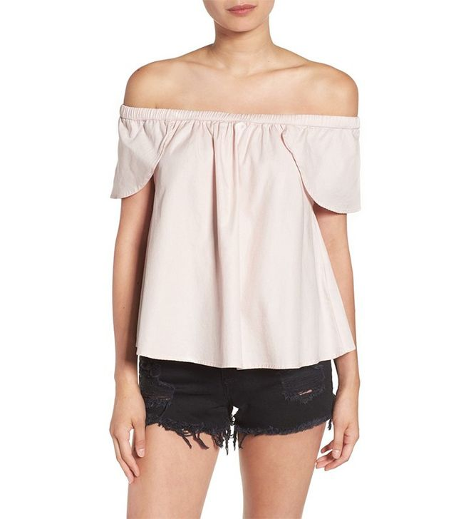 Shop Sincerely Jules Carmen Flutter Sleeve Off the Shoulder Top