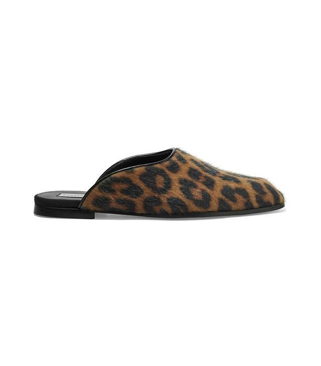 Stella McCartney Leopard-Print Faux Calf Hair Slippers