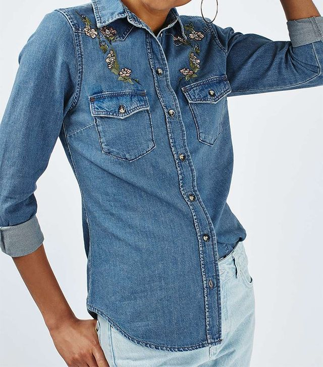 Topshop Moto Fitted Western Shirt
