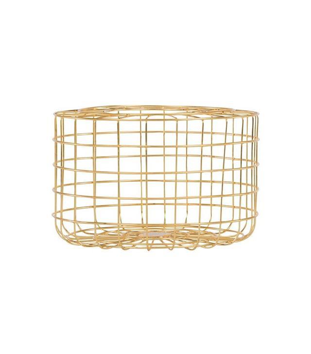 Gold Leaf Design Grid Basket
