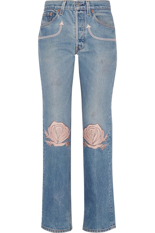 Bliss and Mischief Song Of The West Embroidered Mid-Rise Straight-Leg Jeans