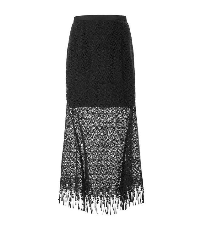 Saloni Bibi Fringed Lace Skirt