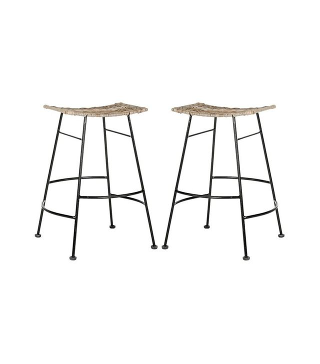 One Kings Lane Pair of Julia Woven Rattan Counter Stools