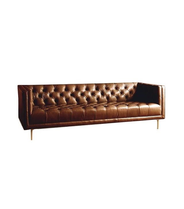 Anthropologie Premium Leather Mina Sofa