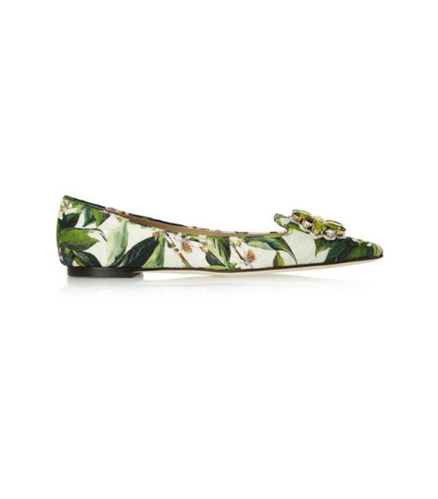Dolce & Gabbana Embellished Floral-Brocade Flats