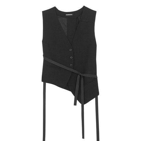 Asymmetric Cotton-Blend Gabardine Vest