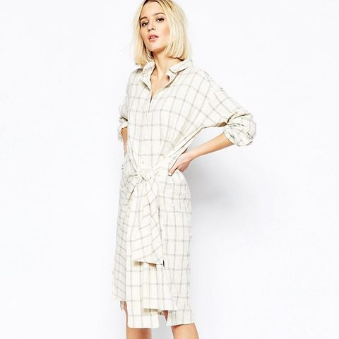 Ester Check Shirt Dress With Tie Front