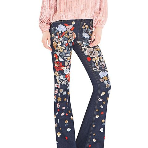 Ryley All Over Embroidered Bell Jeans