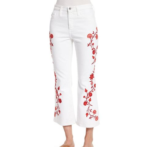 Jodi Embroidered Flare-Leg Cropped Jeans