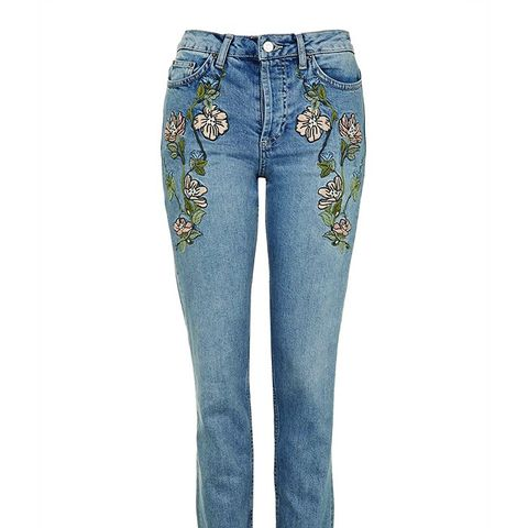 MOTO Embroidered Straight Jeans