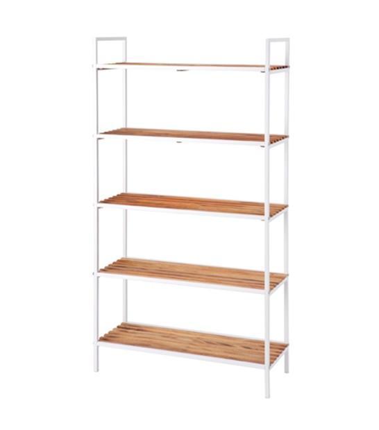 Freedom Store 5 Shelf Wide Storage Unit in Acacia White