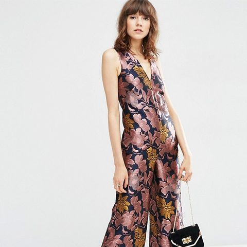 Premium Floral Jacquard Jumpsuit